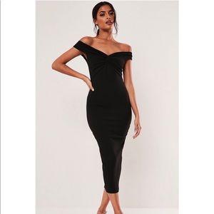 NEW Black bardot twist detail midi dress